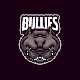 Logo de mascotte de chien bullies pour l'équipe d'esport et de sport