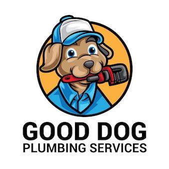 Logo mascotte chien plombier dessin animé