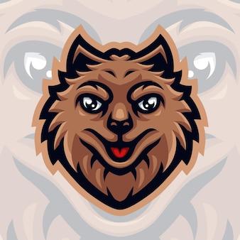 Logo de mascotte de chien pour les jeux twitch streamer gaming esport youtube facebook