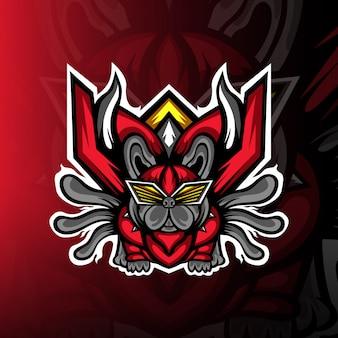 Logo de mascotte de chiots aventureux