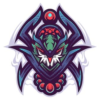 Logo mascotte chouette tribal
