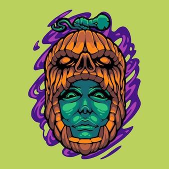 Logo de mascotte de citrouille d'halloween avec tête de zombie