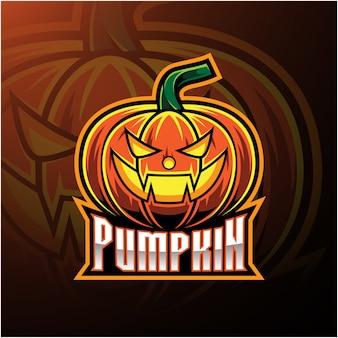 Logo mascotte citrouille d'halloween