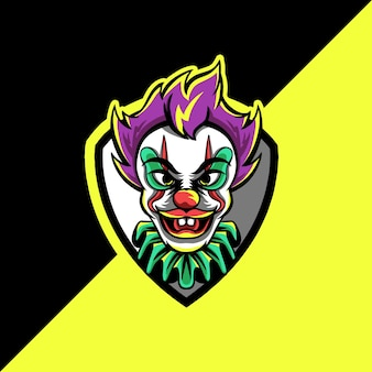 Logo de mascotte de clown esport