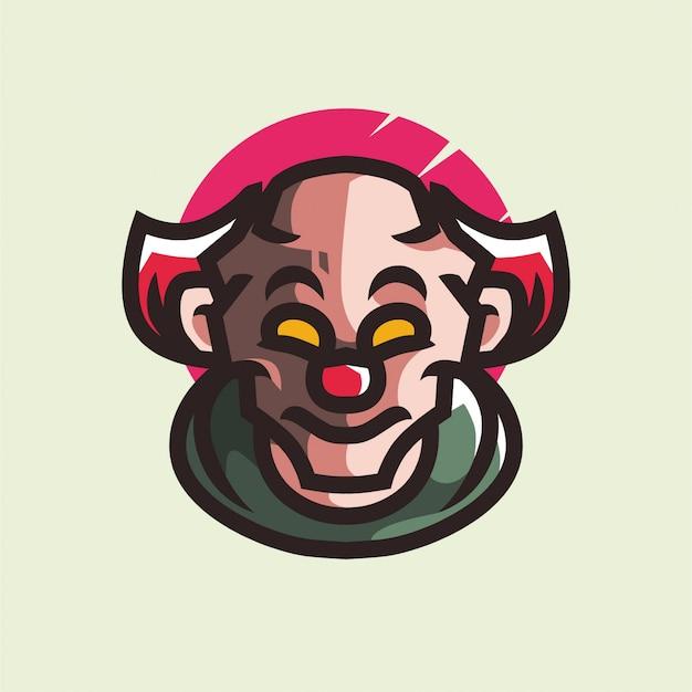 Logo de mascotte de clown