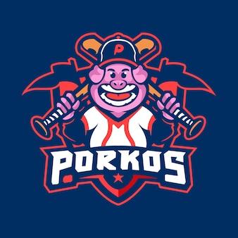 Logo mascotte cochon