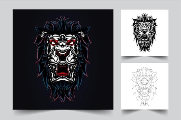Logo de mascotte en colère lion