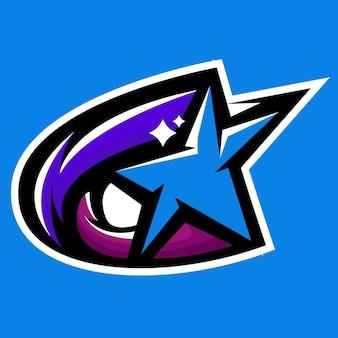 Logo de mascotte de comète de galaxie d'étoile