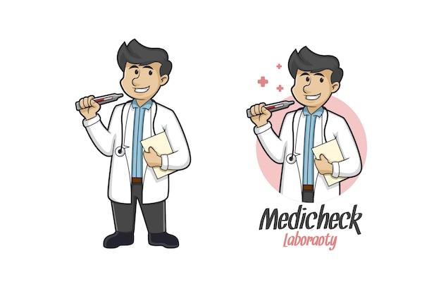 Logo de mascotte de contrôle médical