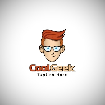 Logo de la mascotte cool geek character