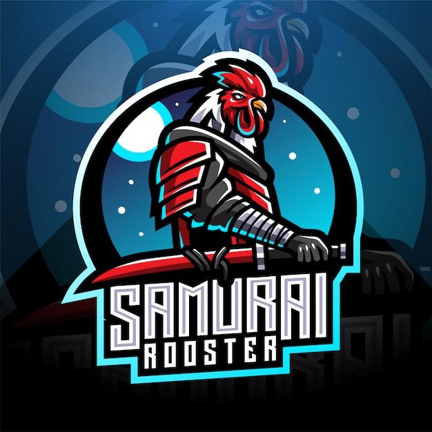 Logo de mascotte de coq de samouraï esport