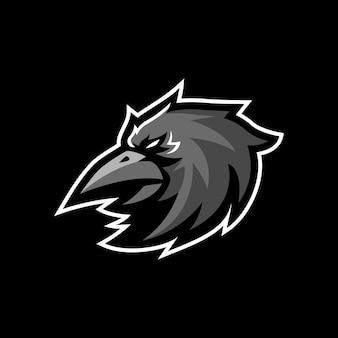 Logo de mascotte de corbeau