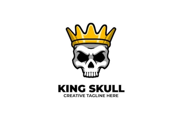 Logo de mascotte de couronne d'usure de crâne