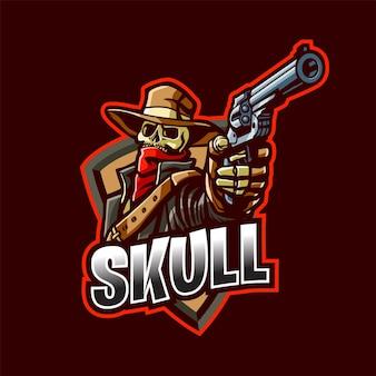 Logo de mascotte de cow-boy de crâne pour l'esport et le sport