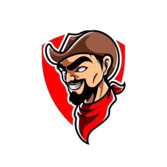 Logo de la mascotte cowboy e sport