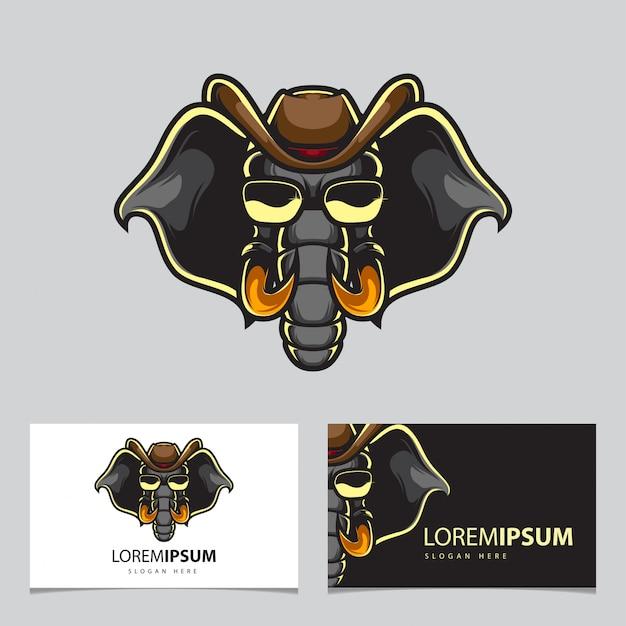 Logo de mascotte de cowboy éléphant