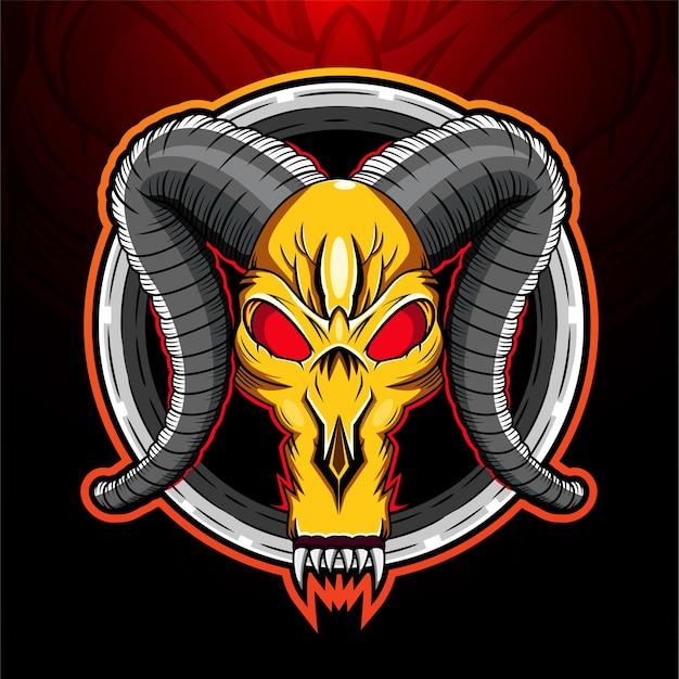 Logo de mascotte de crâne de bélier