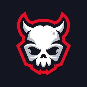 Logo de mascotte de crâne avec corne