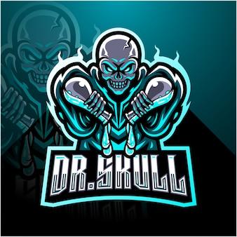 Logo de mascotte de crâne de docteur