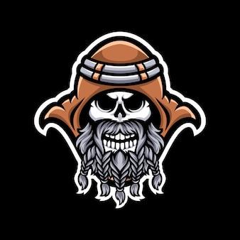 Logo de mascotte de crâne isolé