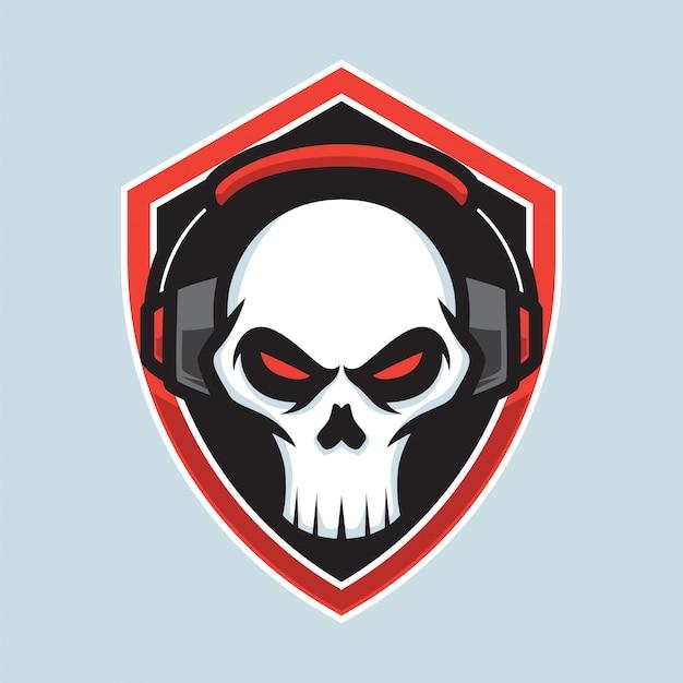 Logo de mascotte de crâne de joueurs