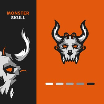 Logo de mascotte de crâne de monstre
