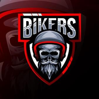 Logo de mascotte de crâne de motards design esport