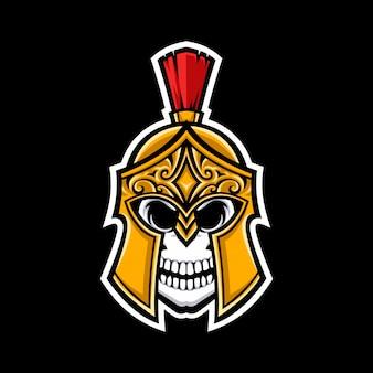Logo de la mascotte de crâne spartiate isolé