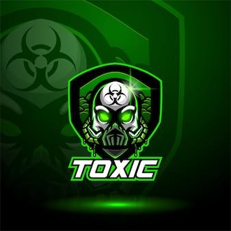 Logo de mascotte de crâne toxique