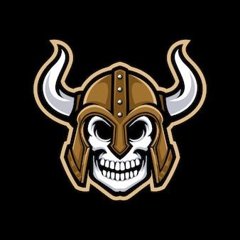 Logo de la mascotte de crâne viking isolé