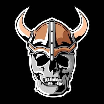 Logo de mascotte de crâne de viking