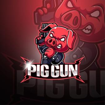 Logo mascotte crazy pig esport