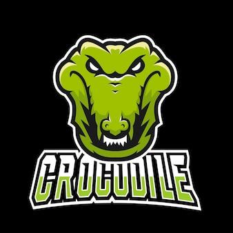 Logo de mascotte de crocodile sport et esport gaming