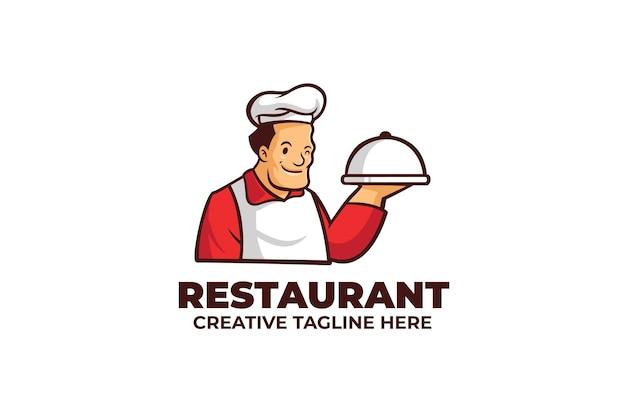 Logo de mascotte de cuisine de chef de restaurant