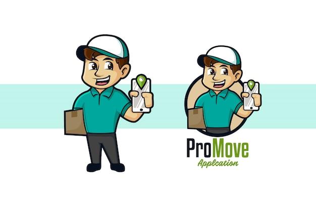 Logo de mascotte de déménageur