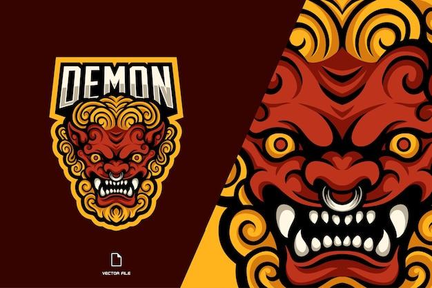 Logo de mascotte de démon japonais