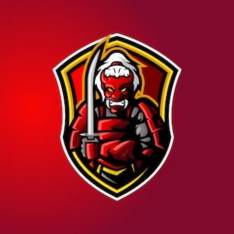Logo de mascotte de démon samouraï
