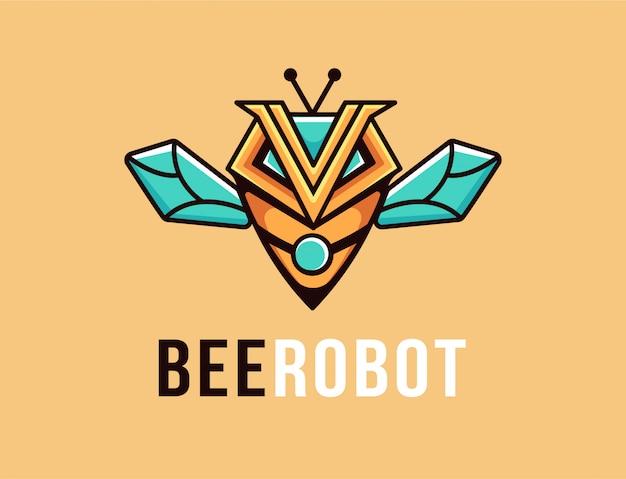Logo de mascotte de dessin animé abeille robot