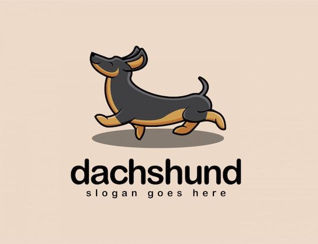 Logo de mascotte de dessin animé chien teckel amusant