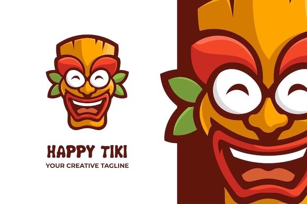 Logo de mascotte de dessin animé de festival de masque de tiki