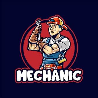 Logo de mascotte de dessin animé homme mécanicien