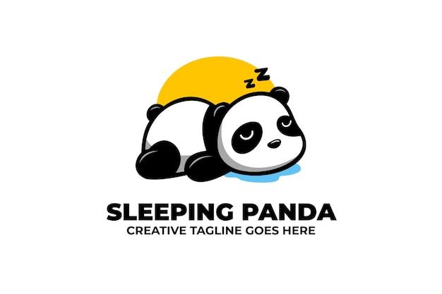 Logo de mascotte de dessin animé panda endormi