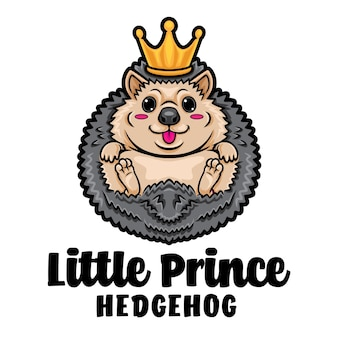 Logo de mascotte de dessin animé prince hérisson