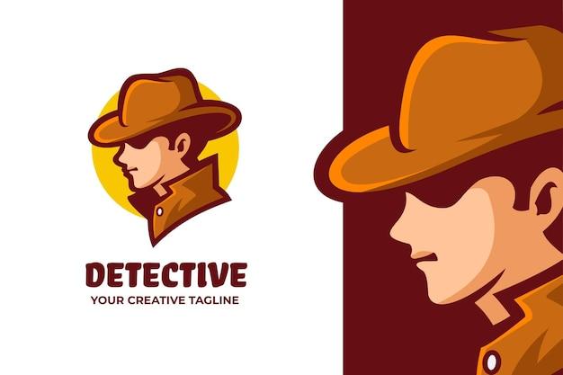 Logo de mascotte de détective homme mystérieux