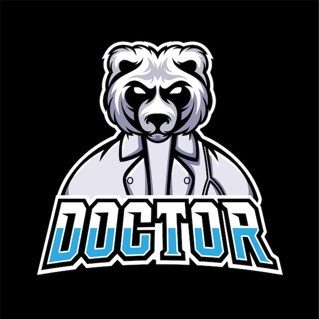 Logo de mascotte de docteur sport et esport gaming