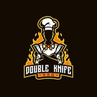 Logo de mascotte à double couteau