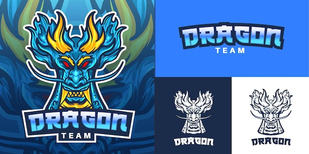 Logo de mascotte de dragon bleu pour illustration e-sport