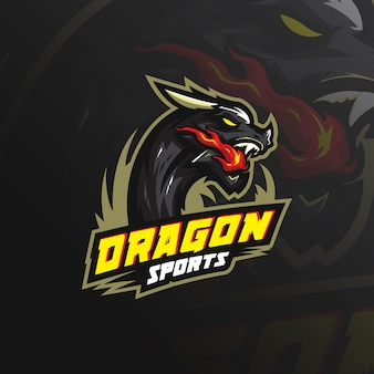 Logo de la mascotte de dragon avec illustration moderne