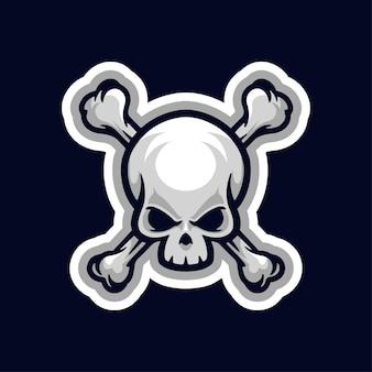 Logo De La Mascotte Du Crâne Logo Du Joueur De Sport Esport Et Du Streamer Logo De La Mascotte De La Tête Uniquement Vecteur Premium