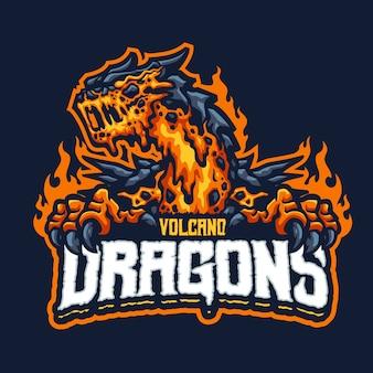 Logo de la mascotte du dragon du volcan pour l'équipe d'esport et de sport